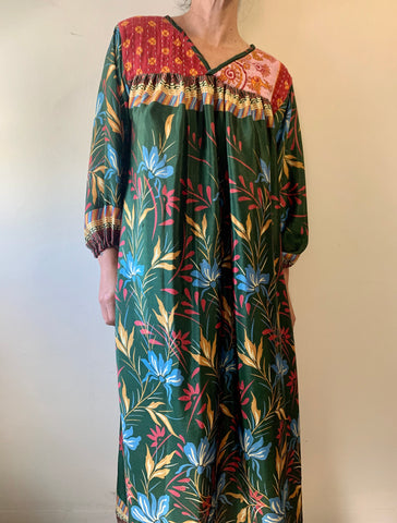 Olive Floral Peasant Dress