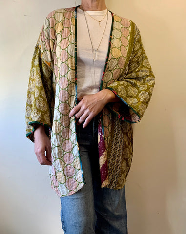 Olive/Purple Kantha Cloth Mid Length Kimono