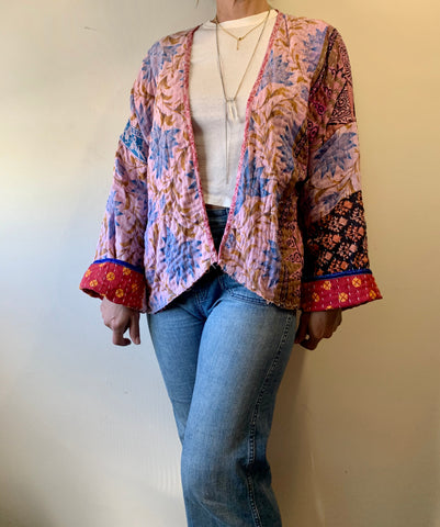 Light blue/Burgundy Kantha Cloth Kimono