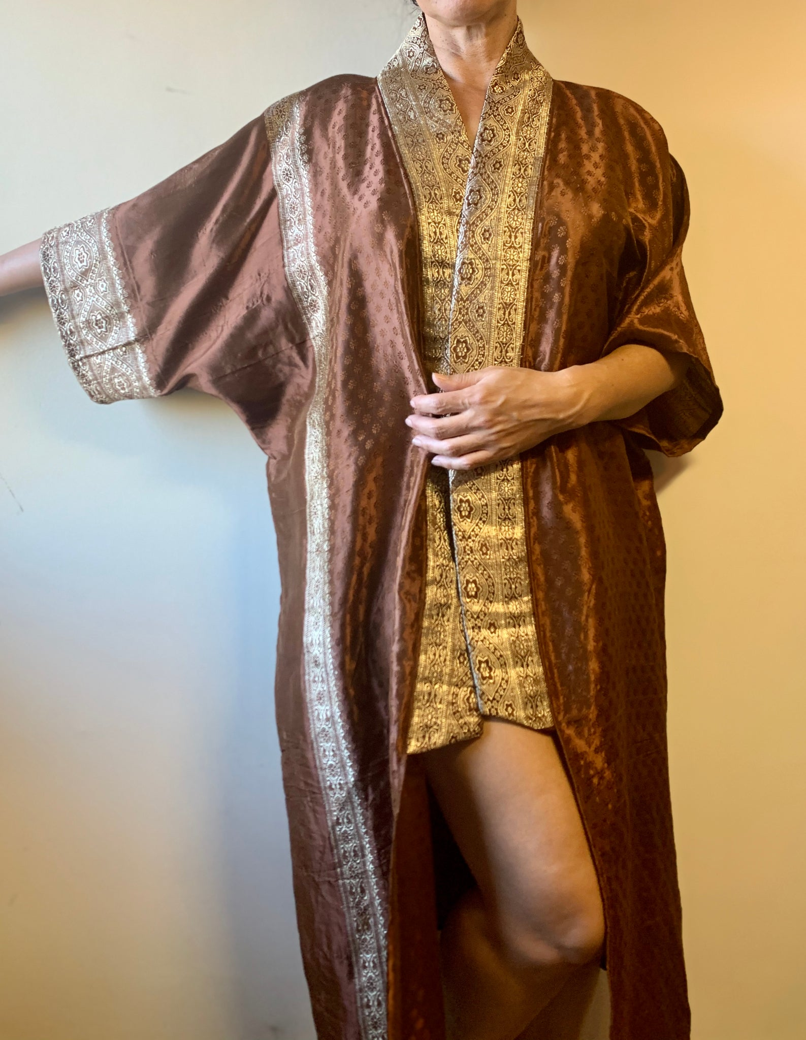 Chocolate Satin Metallic Robe