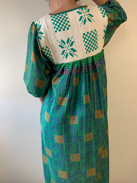 Green Geo print Peasant Dress