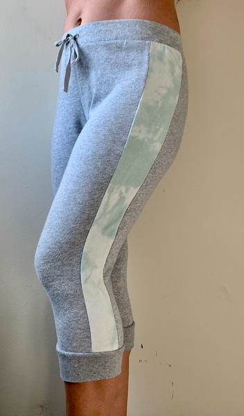 Lightweight Grey/Tie dye drawstring crop sweatpants