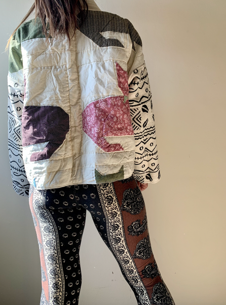 Cat Quilt w/ African mud cloth Kimono
