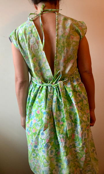 Green Neon Soundwave Floral Babydoll Dress