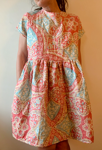 Medallion Print Open Back Dress