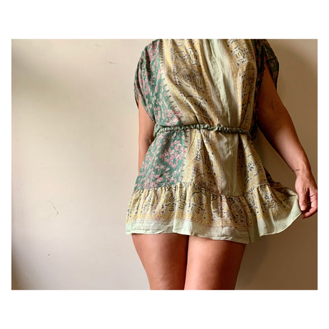 Short Olive Paisley Babydoll Dress/Tunic