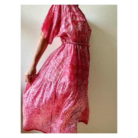 Long Pink/Red Paisley Dress