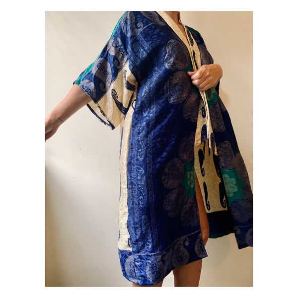 Royal Blue/Ivory Paisley Robe