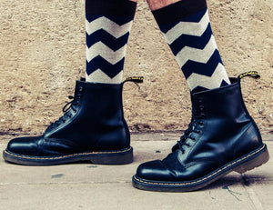 Navy Blue Socks with Creamy ZigZag