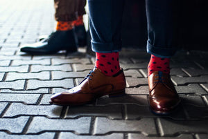 Red Socks with Navy Blue Dots