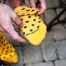 Load image into Gallery viewer, Yellow Socks with Navy Blue Dots