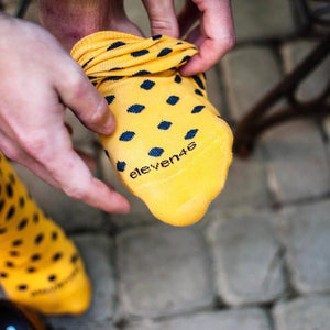 Yellow Socks with Navy Blue Dots