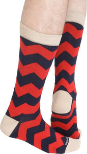 Red Blue Socks with ZigZag