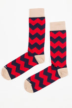 Load image into Gallery viewer, Red Blue Socks with ZigZag