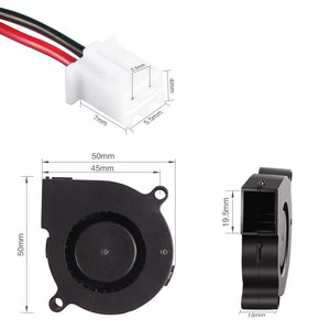 Cooling Blower Fan, 50mm x 50mm x 15mm 5015 Ball Bearing Cooling Fan with 2 Pin Terminal(12V 0.18A)