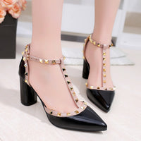 Free shipping Women's shoes 2018 summer Thick with Pumps buckle hollow rivets pointed high-heeled patent leather sandals