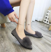 Free shipping Small size 2018 autumn imitation rabbit fur shoes tassel women's shoes flat single shoes pointed and velvet