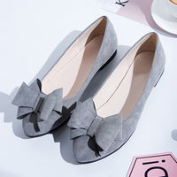 women shoes casual gray black office lady bow tie pointed toe flat shoes female cute spring summer slip on ballet shoes 2018 New