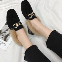 New 2018 winter Round Toe metal Chain women Flats flip flop Rabbit hair warm Lazy shoes woman fashion Leisure Flat shoes
