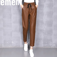 JUJULAND 2018 Trousers for Women PU leather Female Pencil Pants Ruffle Lace up High Waist Fashion Clothes Large Big Sizes Autumn
