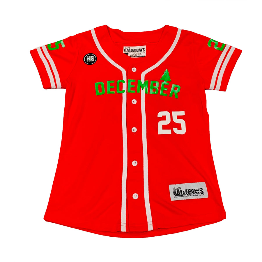 GIRLS BASEBALL JERSEY - RED CHRISTMAS