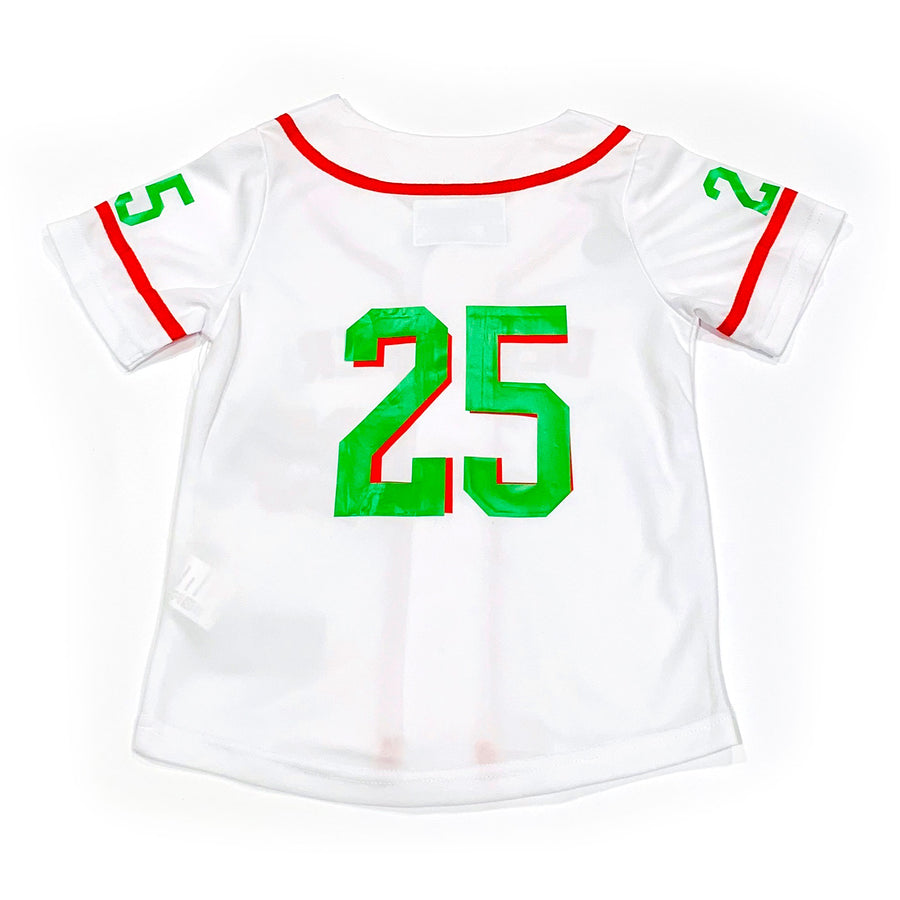 BOYS BASEBALL JERSEY - WHITE CHRISTMAS
