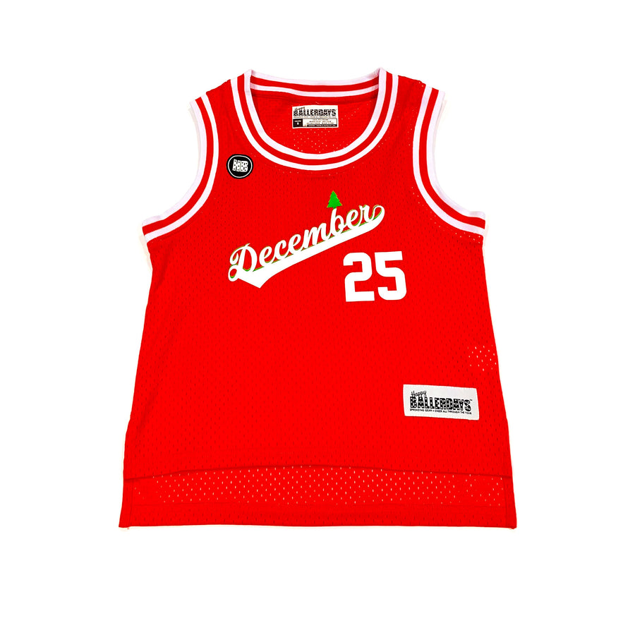 UNISEX BABY BASKETBALL JERSEY - RED CHRISTMAS