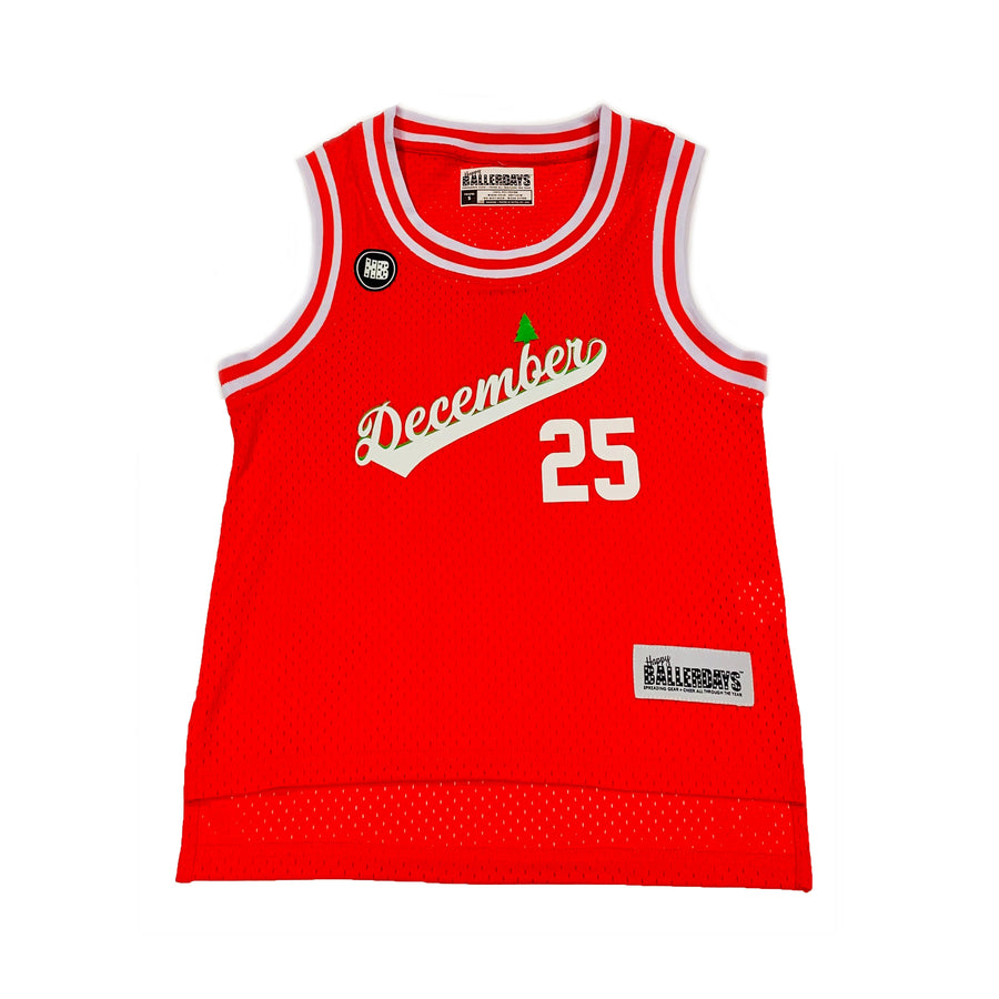 GIRLS BASKETBALL JERSEY - RED CHRISTMAS