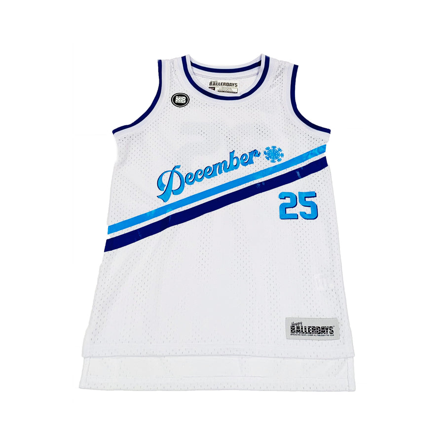 TODDLER GIRLS BASKETBALL JERSEY - WHITE HANUKKAH