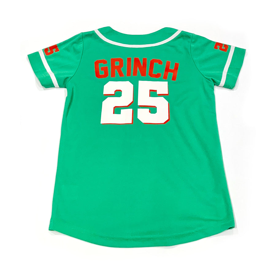 BOYS BASEBALL JERSEY - GREEN CHRISTMAS