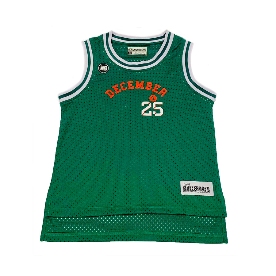 TODDLER BOYS BASKETBALL JERSEY - GREEN CHRISTMAS