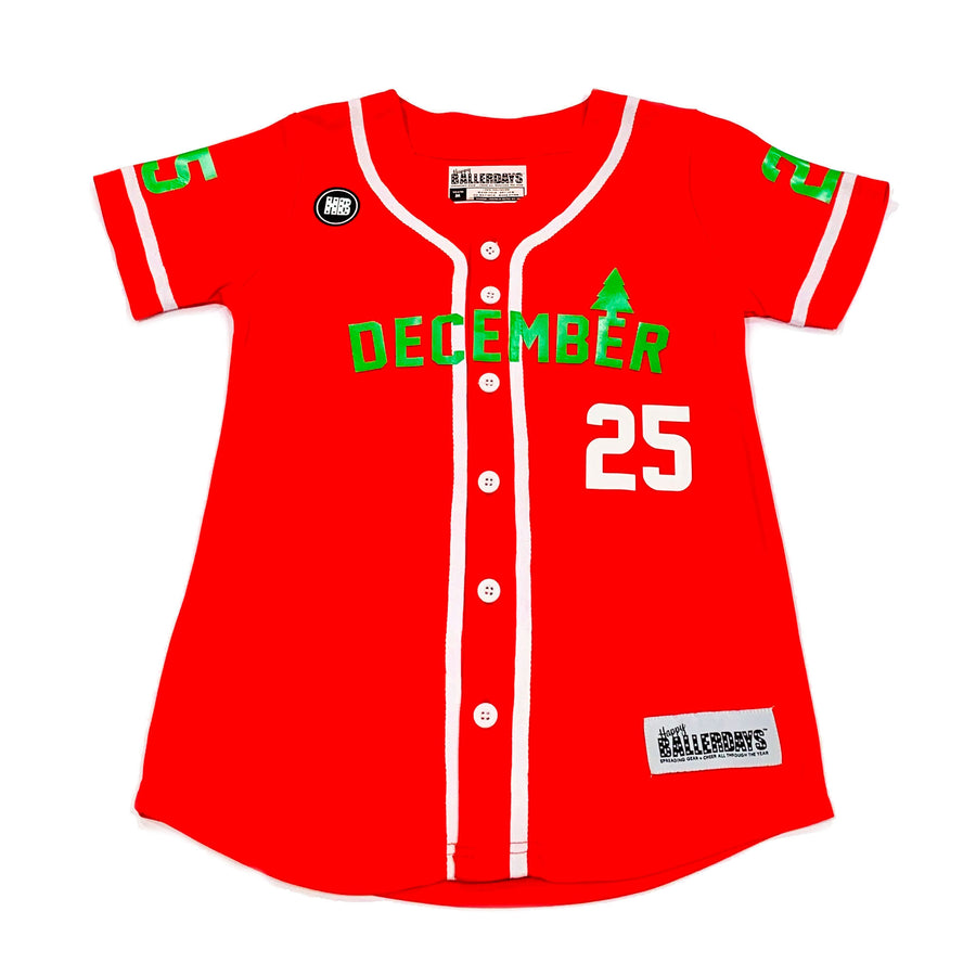 BOYS BASEBALL JERSEY - RED CHRISTMAS