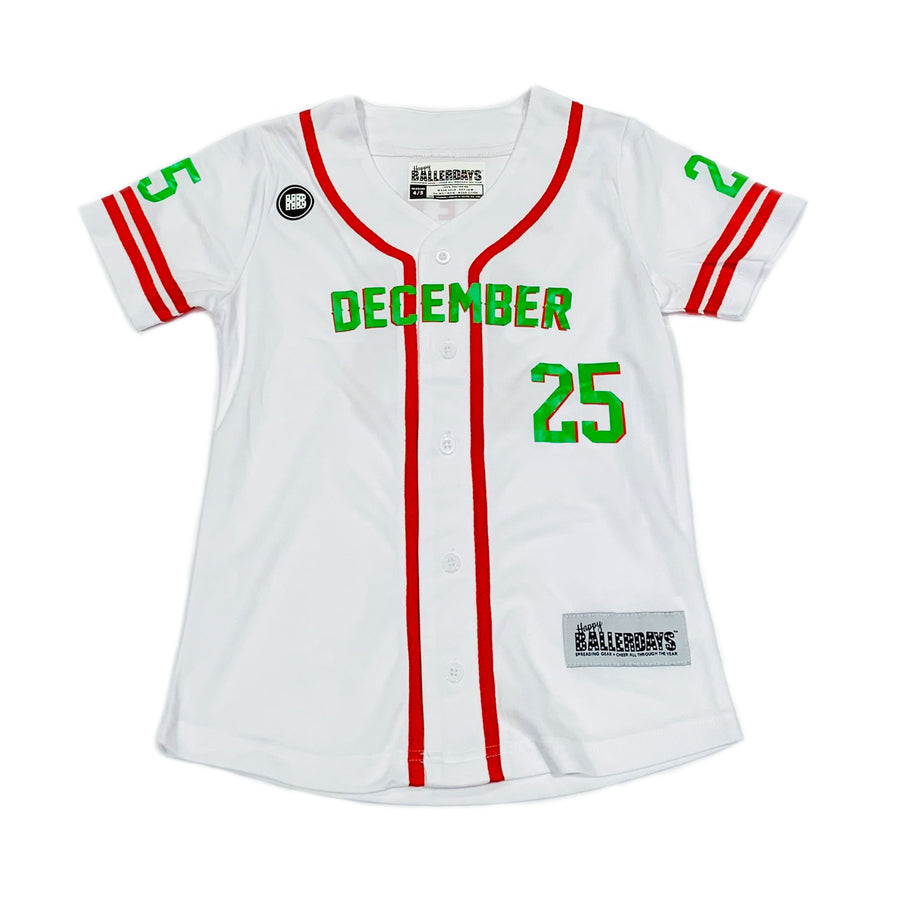 TODDLER GIRLS BASEBALL JERSEY - WHITE CHRISTMAS
