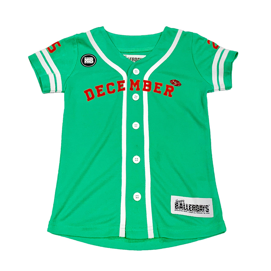 GIRLS BASEBALL JERSEY - GREEN CHRISTMAS