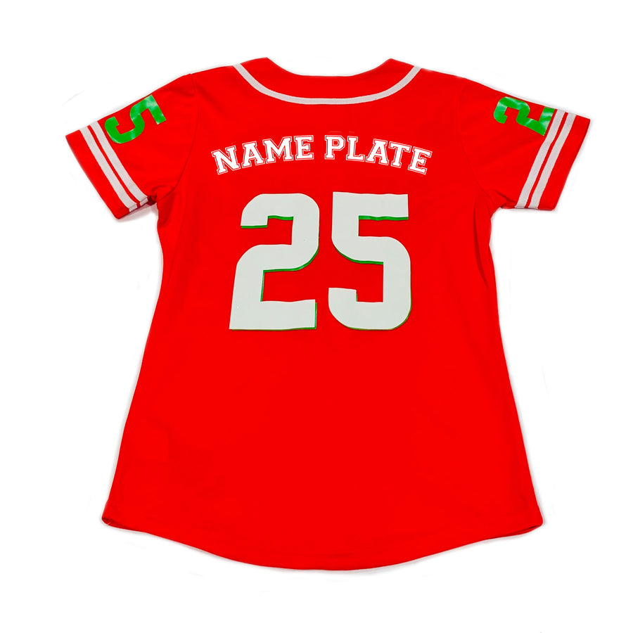 WOMENS BASEBALL JERSEY - RED