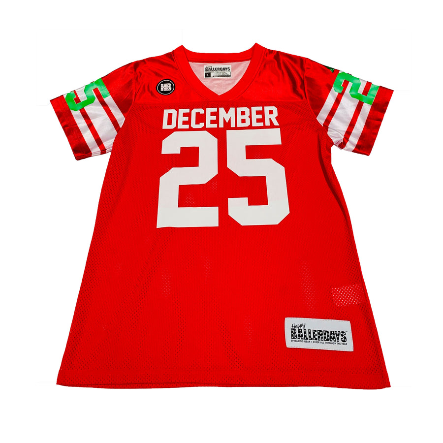 TODDLER GIRLS FOOTBALL JERSEY - RED CHRISTMAS