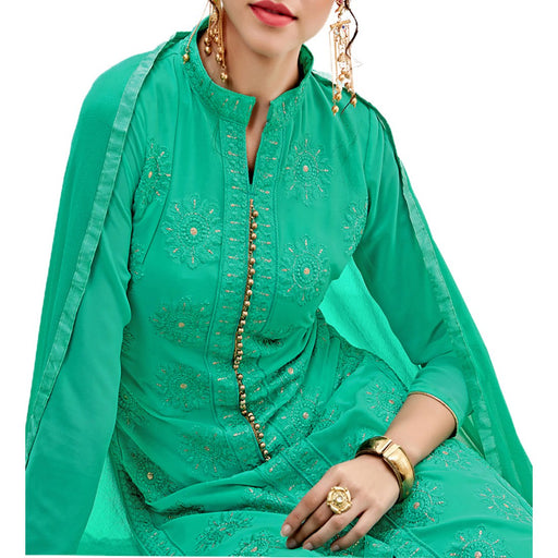 Georgette Fabric Sea Green Color Dress Material only in Bigswipe