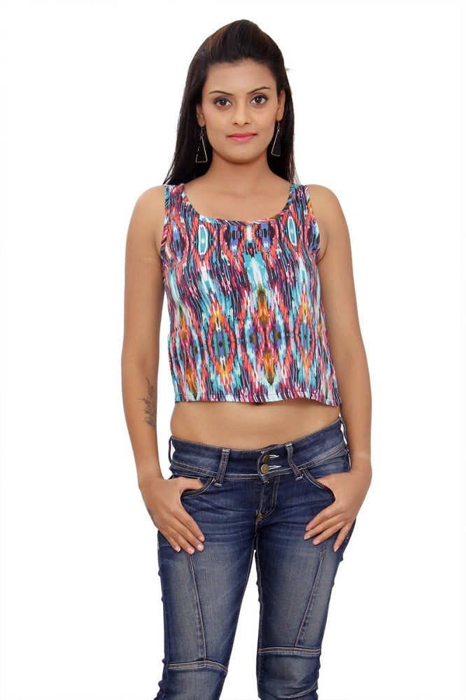 Multi Color Printed Rayon Staple Short Top only in Bigswipe