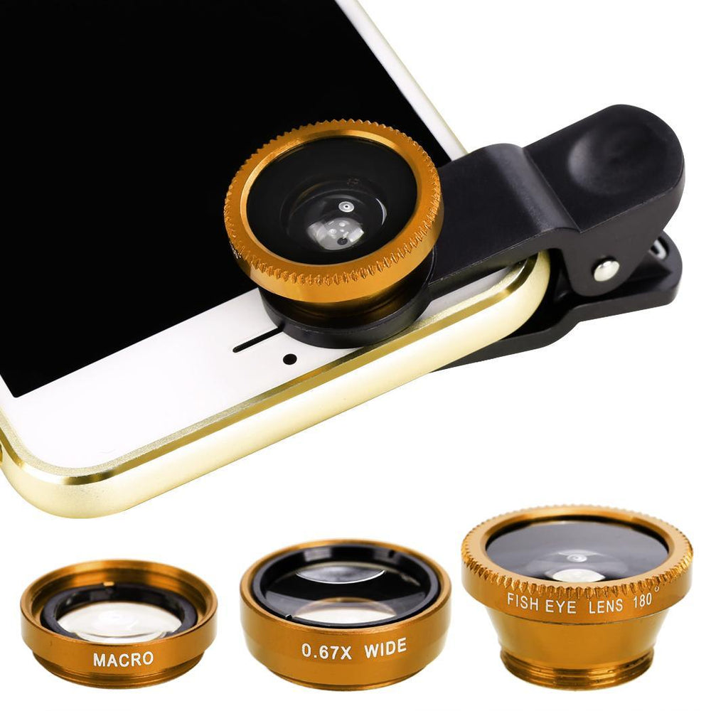 Camera Clip lens-Fisheye lens, wide&Macro lens_Gold only in Bigswipe