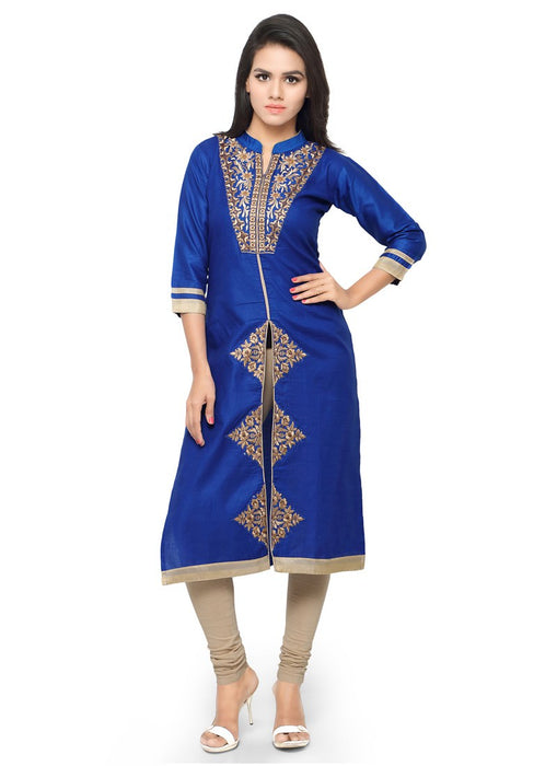 Blue Color Embroidery Glace Cotton Kurti only in Bigswipe