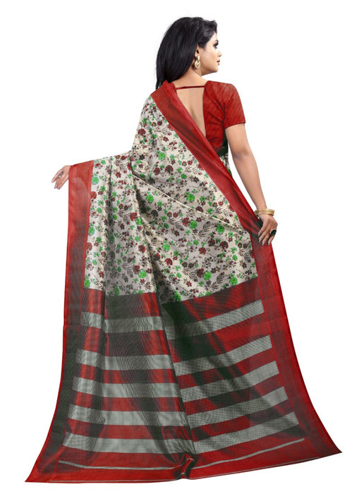 Red And White Color Printed Art Silk Saree With Blouse
