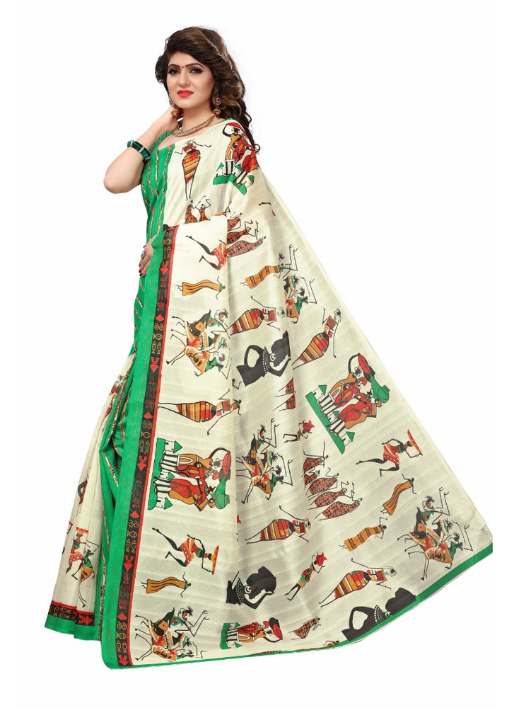Green Color Printed Bhagalpuri Silk Saree With Blouse only in Bigswipe