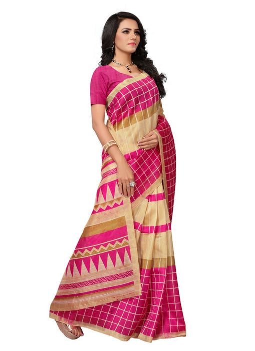 Rose Color Printed Bhagalpuri Silk Saree With Blouse