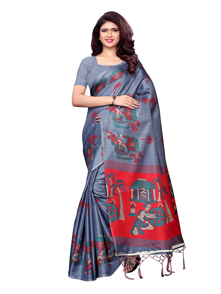Grey, Maroon Color Art Silk Saree only in Bigswipe