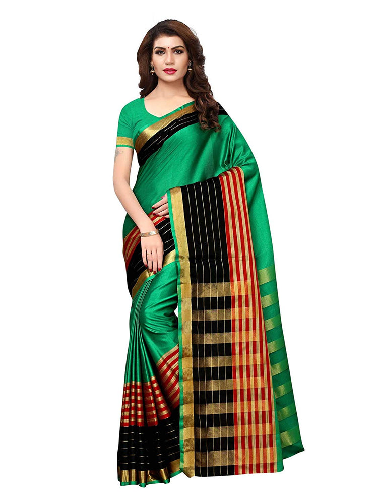 Green, Black, Red Color Poly Silk Saree only in Bigswipe
