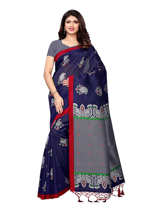 Navy Blue, Multi Color Poly Silk Saree only in Bigswipe