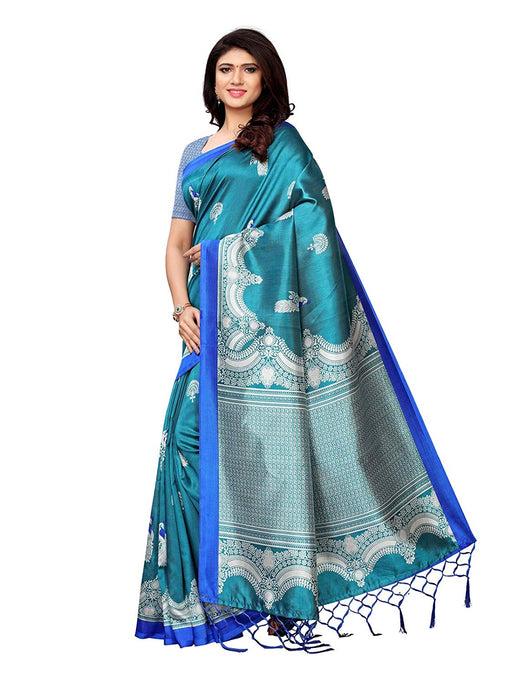 Turquoise, Silver Color Poly Silk Saree