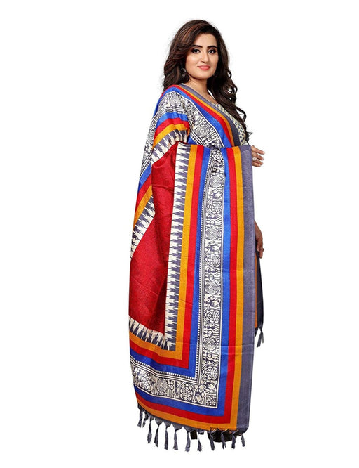 Maroon, Multi Color Bhagalpuri Silk Dupatta only in Bigswipe