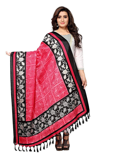 Pink, Black, Off White Color Bhagalpuri Silk Dupatta only in Bigswipe