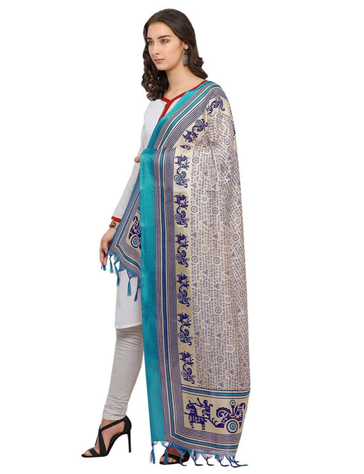 Cream, Blue Color Bhagalpuri Dupatta only in Bigswipe